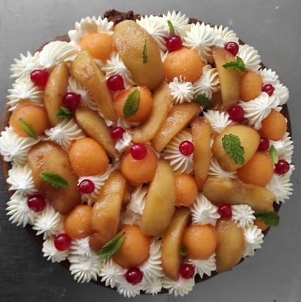 Tarte croquante melon pe che et menthe